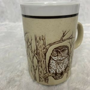 Woodsy Trees and Owl Brown Beige Rustic Cup Mug